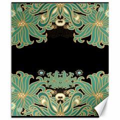 Black,green,gold,art Nouveau,floral,pattern Canvas 8  X 10