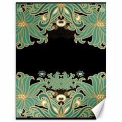 Black,green,gold,art Nouveau,floral,pattern Canvas 18  X 24