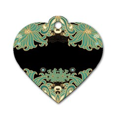 Black,green,gold,art Nouveau,floral,pattern Dog Tag Heart (two Sides)