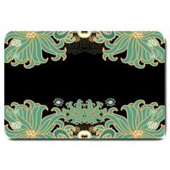 Black,green,gold,art Nouveau,floral,pattern Large Doormat