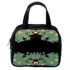 Black,green,gold,art Nouveau,floral,pattern Classic Handbags (one Side)