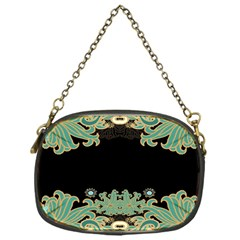Black,green,gold,art Nouveau,floral,pattern Chain Purses (one Side)