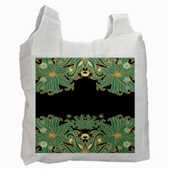 Black,green,gold,art Nouveau,floral,pattern Recycle Bag (two Side)