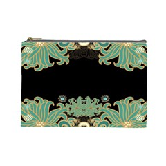 Black,green,gold,art Nouveau,floral,pattern Cosmetic Bag (large)