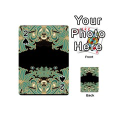 Black,green,gold,art Nouveau,floral,pattern Playing Cards 54 (mini)