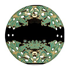 Black,green,gold,art Nouveau,floral,pattern Round Filigree Ornament (two Sides)