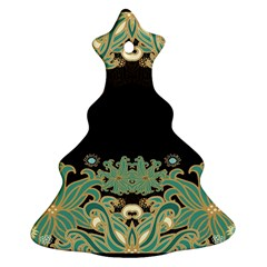 Black,green,gold,art Nouveau,floral,pattern Christmas Tree Ornament (two Sides)