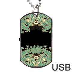 Black,green,gold,art Nouveau,floral,pattern Dog Tag Usb Flash (one Side)