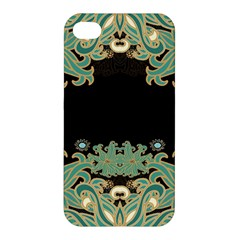Black,green,gold,art Nouveau,floral,pattern Apple Iphone 4/4s Hardshell Case