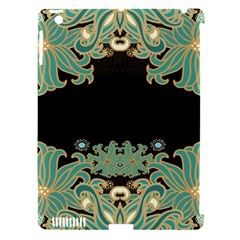 Black,green,gold,art Nouveau,floral,pattern Apple Ipad 3/4 Hardshell Case (compatible With Smart Cover)