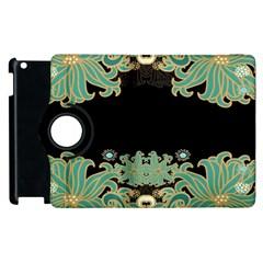 Black,green,gold,art Nouveau,floral,pattern Apple Ipad 2 Flip 360 Case