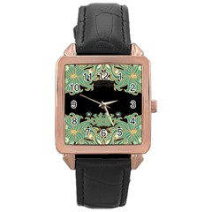 Black,green,gold,art Nouveau,floral,pattern Rose Gold Leather Watch