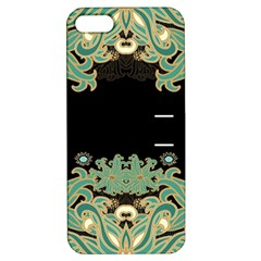 Black,green,gold,art Nouveau,floral,pattern Apple Iphone 5 Hardshell Case With Stand