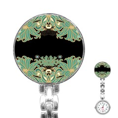 Black,green,gold,art Nouveau,floral,pattern Stainless Steel Nurses Watch