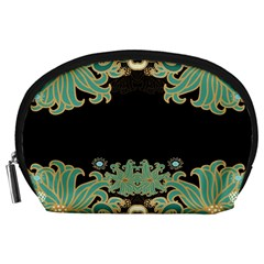 Black,green,gold,art Nouveau,floral,pattern Accessory Pouches (large)