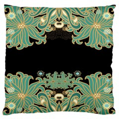 Black,green,gold,art Nouveau,floral,pattern Large Flano Cushion Case (one Side)