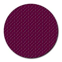 Pink Flowers Magenta Round Mousepads