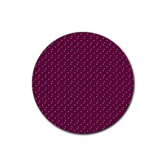 Pink Flowers Magenta Rubber Round Coaster (4 Pack)