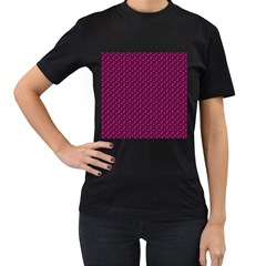 Pink Flowers Magenta Women s T Shirt (black) (two Sided)