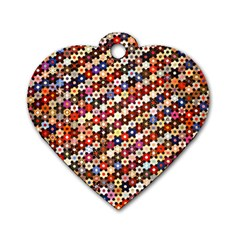 Mosaic Pattern Quilt Pattern Dog Tag Heart (two Sides)