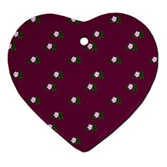 Pink Flowers Magenta Big Heart Ornament (two Sides)