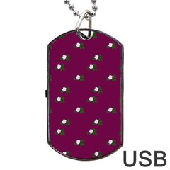 Pink Flowers Magenta Big Dog Tag Usb Flash (one Side)