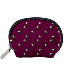 Pink Flowers Magenta Big Accessory Pouches (small)