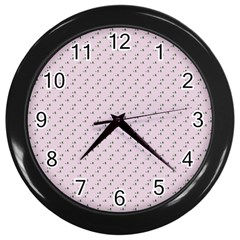 Pink Flowers Pink Wall Clocks (black)