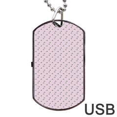 Pink Flowers Pink Dog Tag Usb Flash (one Side)