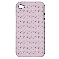 Pink Flowers Pink Apple Iphone 4/4s Hardshell Case (pc+silicone)