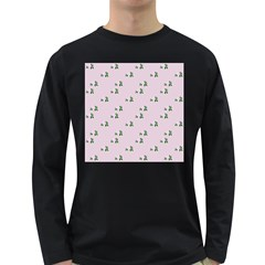 Pink Flowers Pink Big Long Sleeve Dark T Shirts