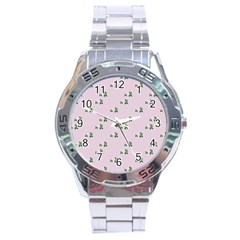 Pink Flowers Pink Big Stainless Steel Analogue Watch