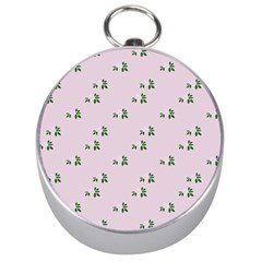 Pink Flowers Pink Big Silver Compasses