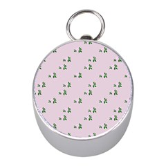 Pink Flowers Pink Big Mini Silver Compasses