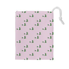 Pink Flowers Pink Big Drawstring Pouches (large)
