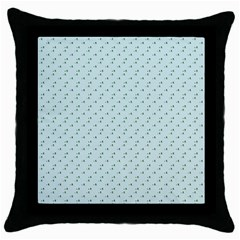 Pink Flowers Blue Throw Pillow Case (black)