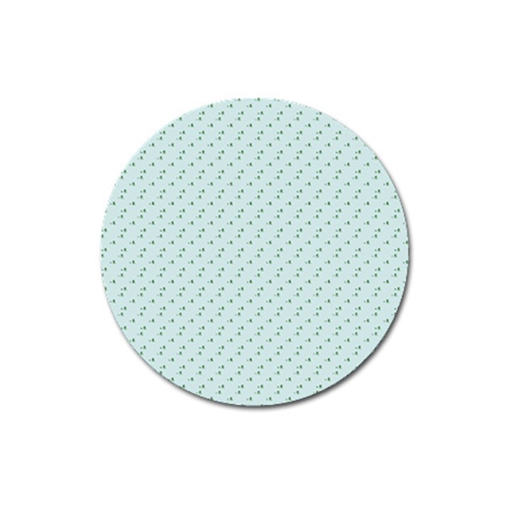 Pink Flowers Blue Magnet 3  (Round)