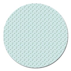Pink Flowers Blue Magnet 5  (round)