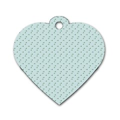 Pink Flowers Blue Dog Tag Heart (two Sides)