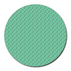 Pink Flowers Green Round Mousepads