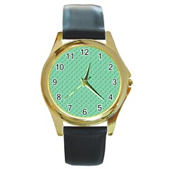 Pink Flowers Green Round Gold Metal Watch