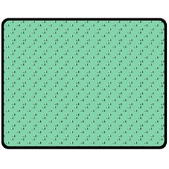 Pink Flowers Green Fleece Blanket (medium)