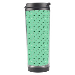 Pink Flowers Green Travel Tumbler