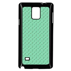 Pink Flowers Green Samsung Galaxy Note 4 Case (black)