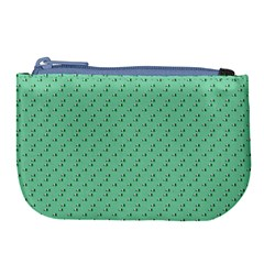 Pink Flowers Green Large Coin Purse