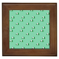 Pink Flowers Green Big Framed Tiles