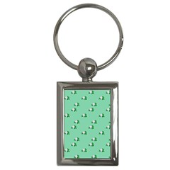 Pink Flowers Green Big Key Chains (rectangle)