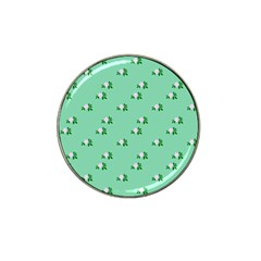 Pink Flowers Green Big Hat Clip Ball Marker (10 Pack)