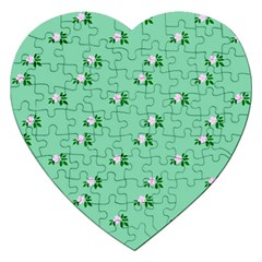 Pink Flowers Green Big Jigsaw Puzzle (heart)