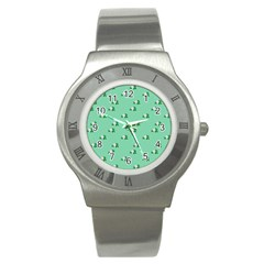 Pink Flowers Green Big Stainless Steel Watch